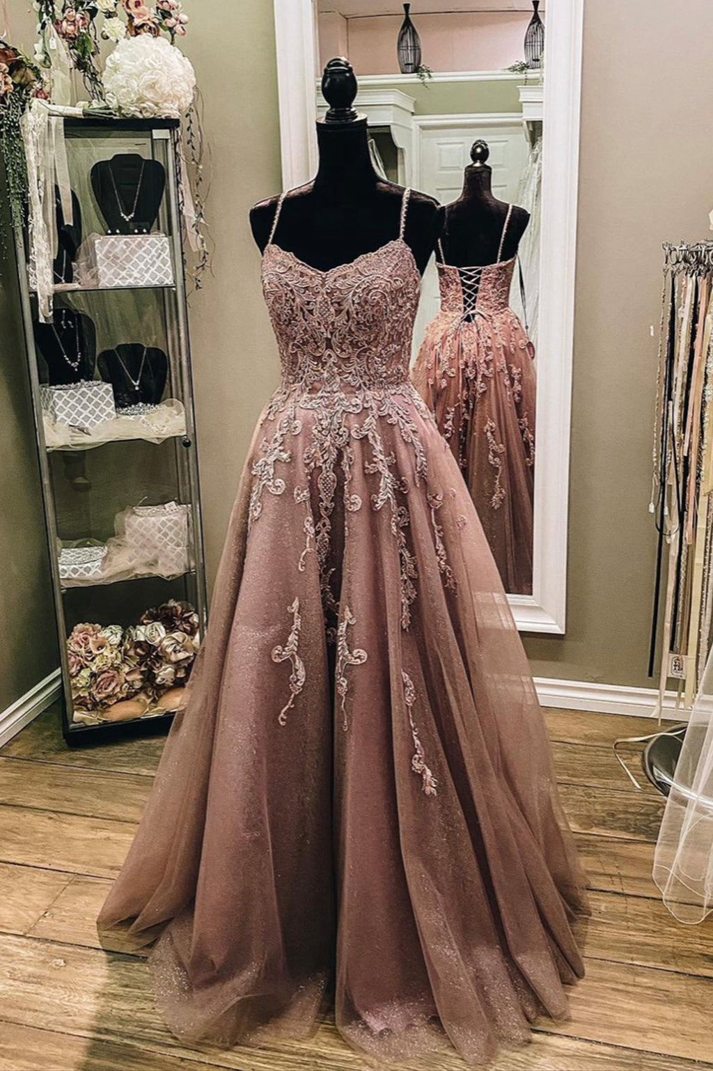 Stylish lace long A line prom dress evening dress