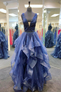 Blue tulle beads prom dress two pieces evening dress