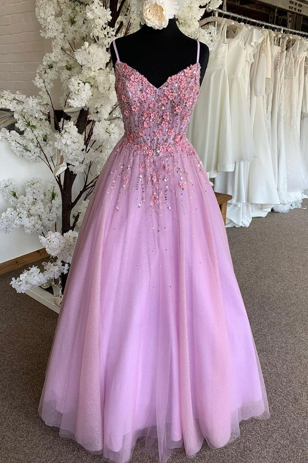 Lovely v neck lace appliqué prom dress evening dress