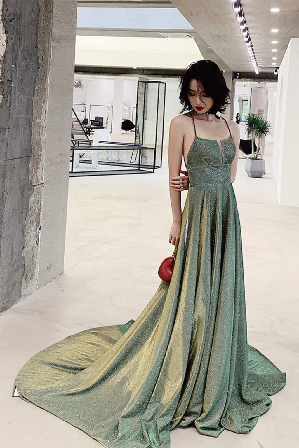 Green satin long prom dress A line evening dress
