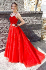 Red lace long A line prom dress red evening dress