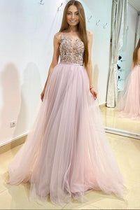 Pink tulle lace long A line prom dress evening dress