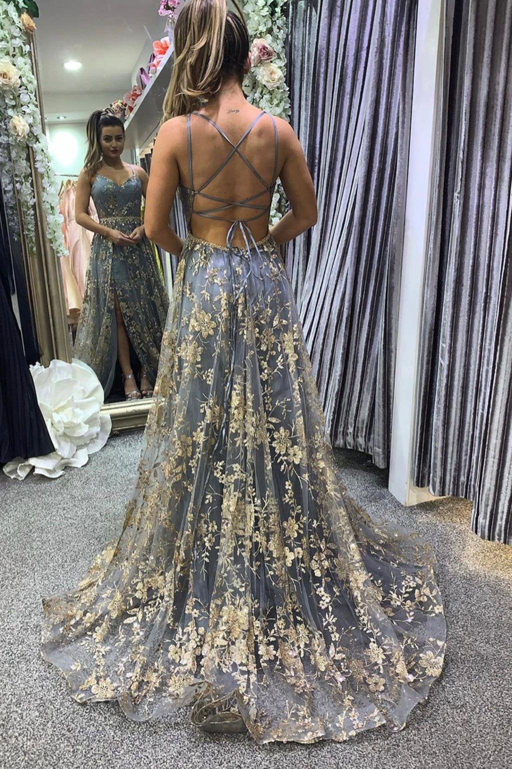 Stylish tulle sequins long prom dress A line backless evening dress