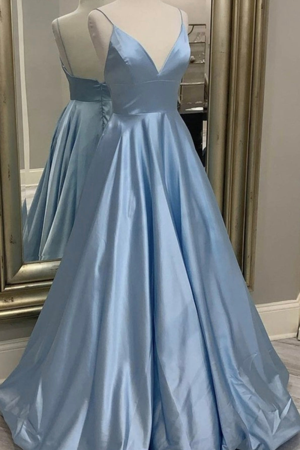 Blue satin long prom dress simple v neck evening dress