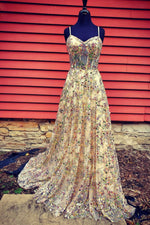 Shiny tulle sequins long prom dress evening dress