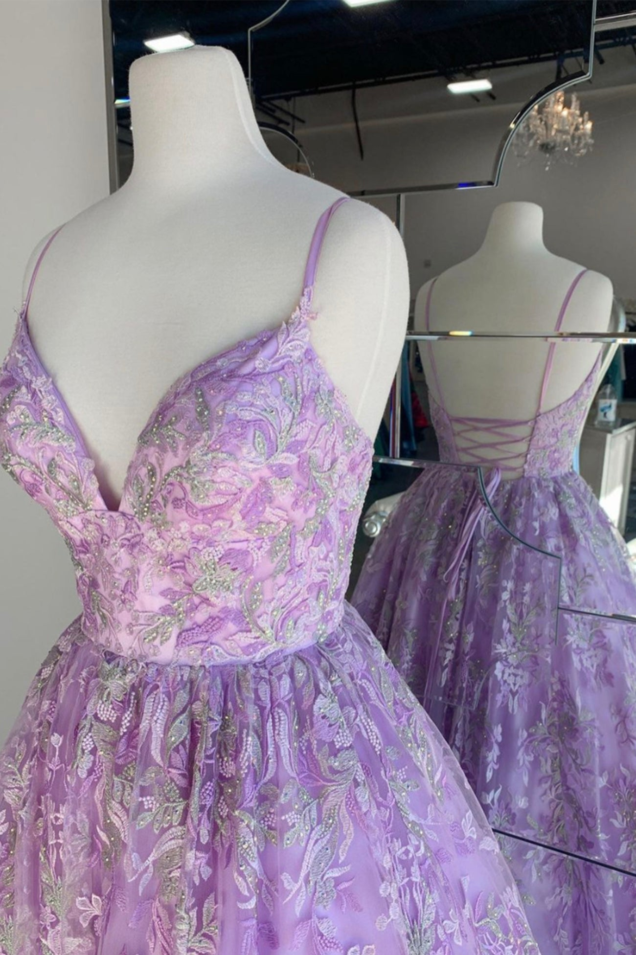 Purple lace long ball gown dress formal dress
