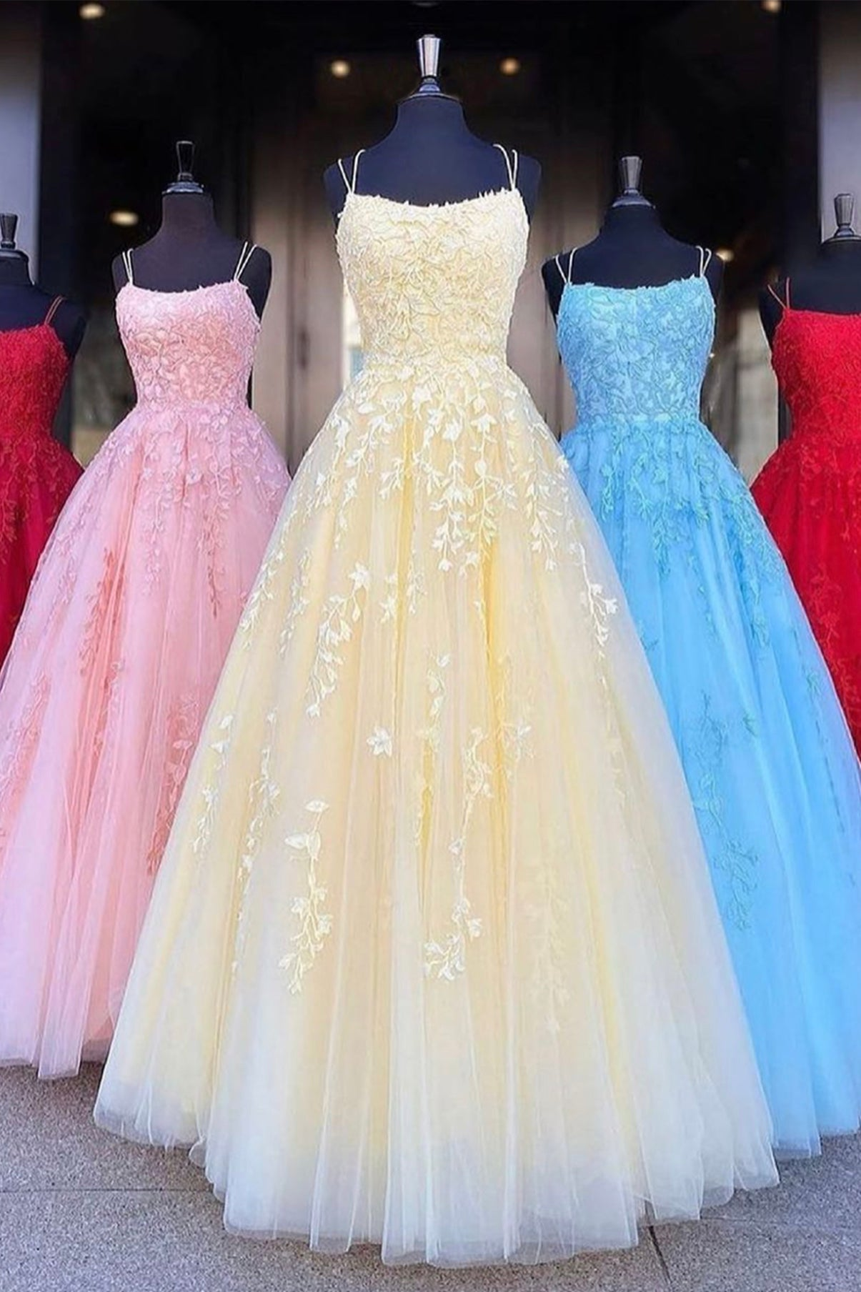 Elegant tulle lace long prom dress evening dress