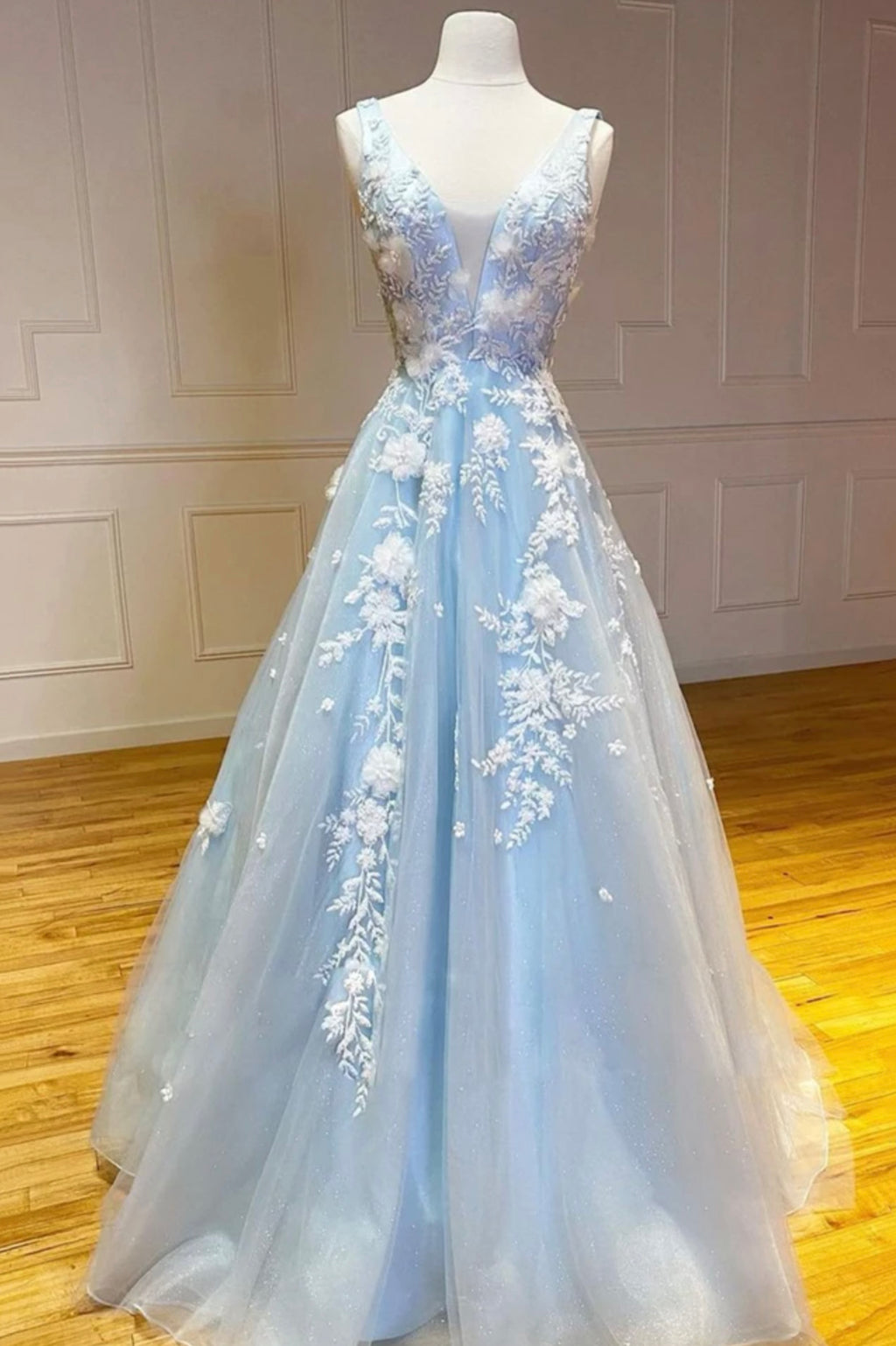 Blue v neck tulle long A line prom dress evening dress