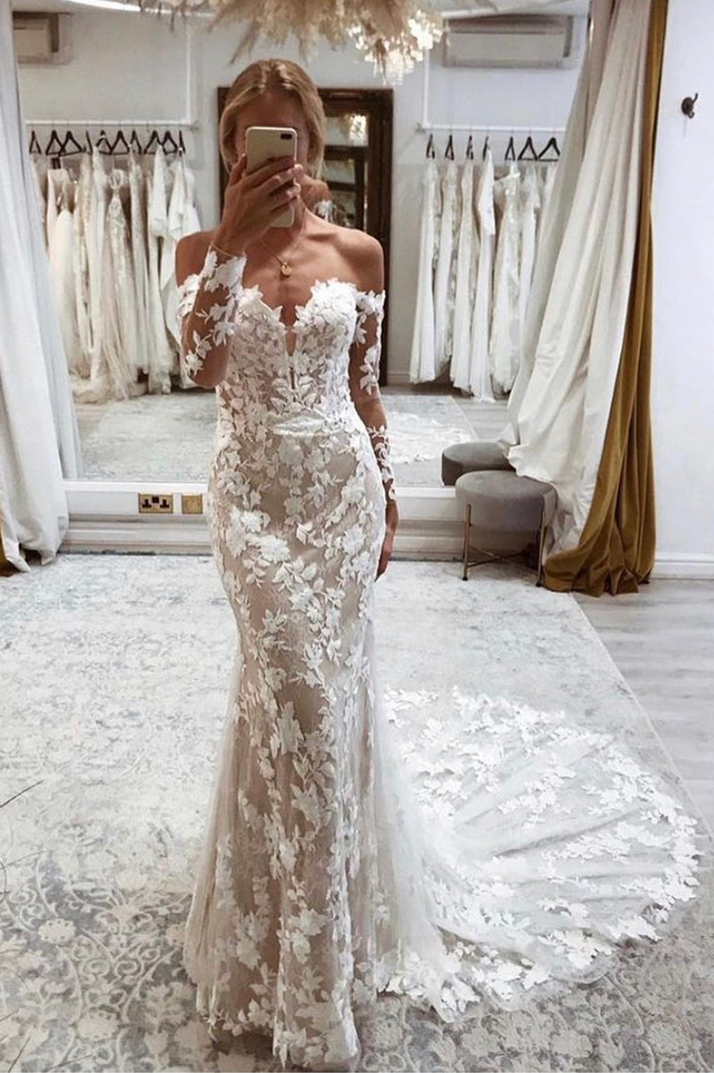 Mermaid lace long sleeve prom dress evening dress