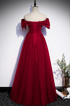 Burgundy off shoulder long prom dress evening dress