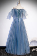 Blue tulle beads long prom dress A line evening dress