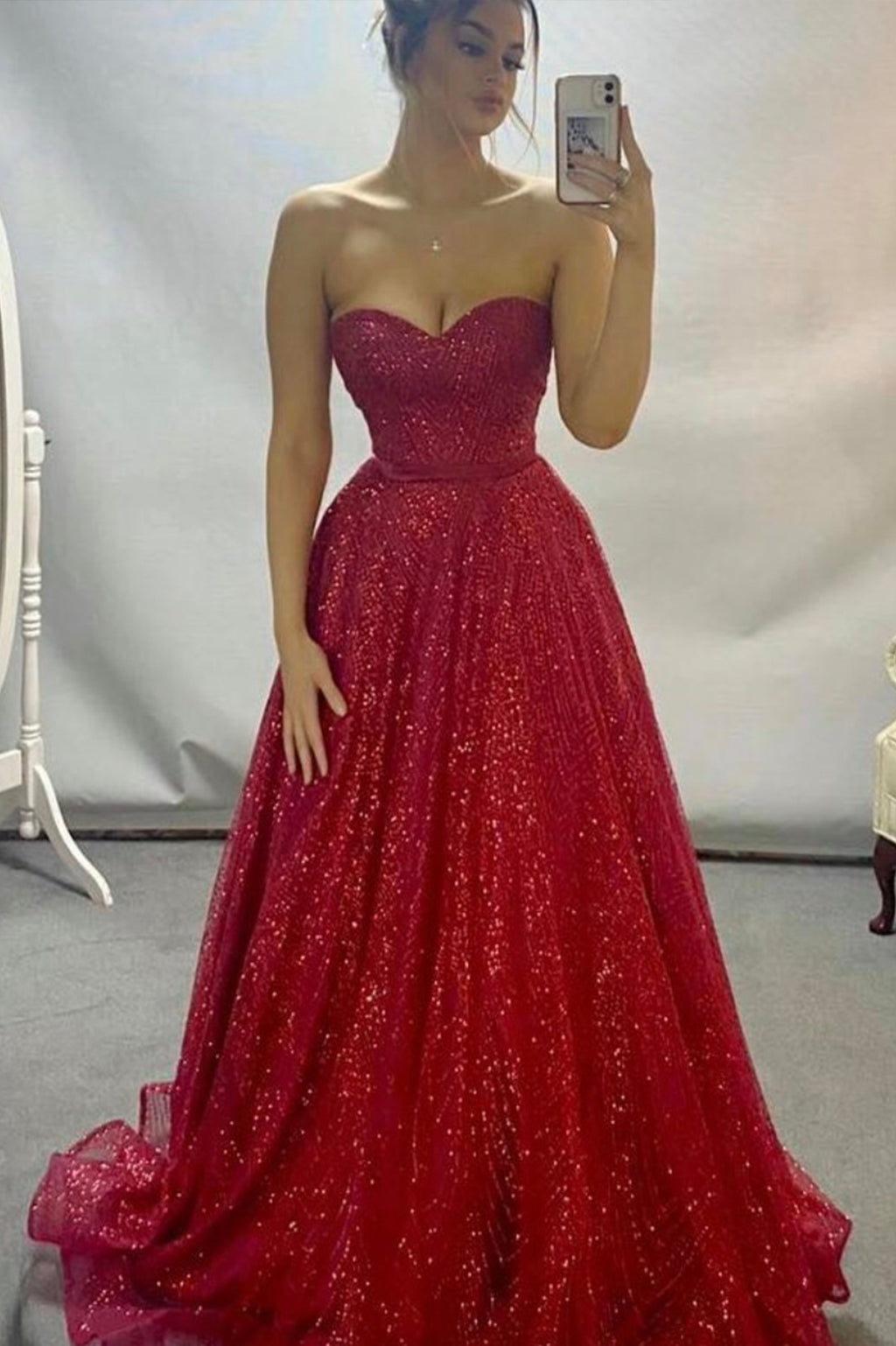 Burgundy tulle sequins long A line prom dress evening dress