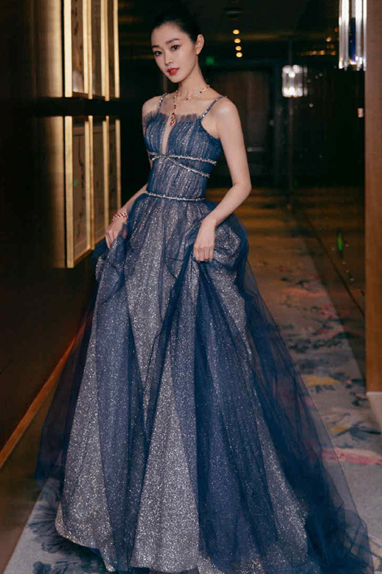 Shiny tulle long A line prom dress blue evening dress