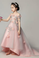 Pink lace flower girl dress party girl dress