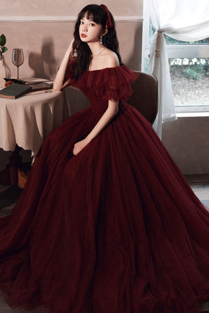 Burgundy tulle long A line prom dress evening dress