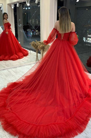Red A line tulle long prom gown with lace formal dress
