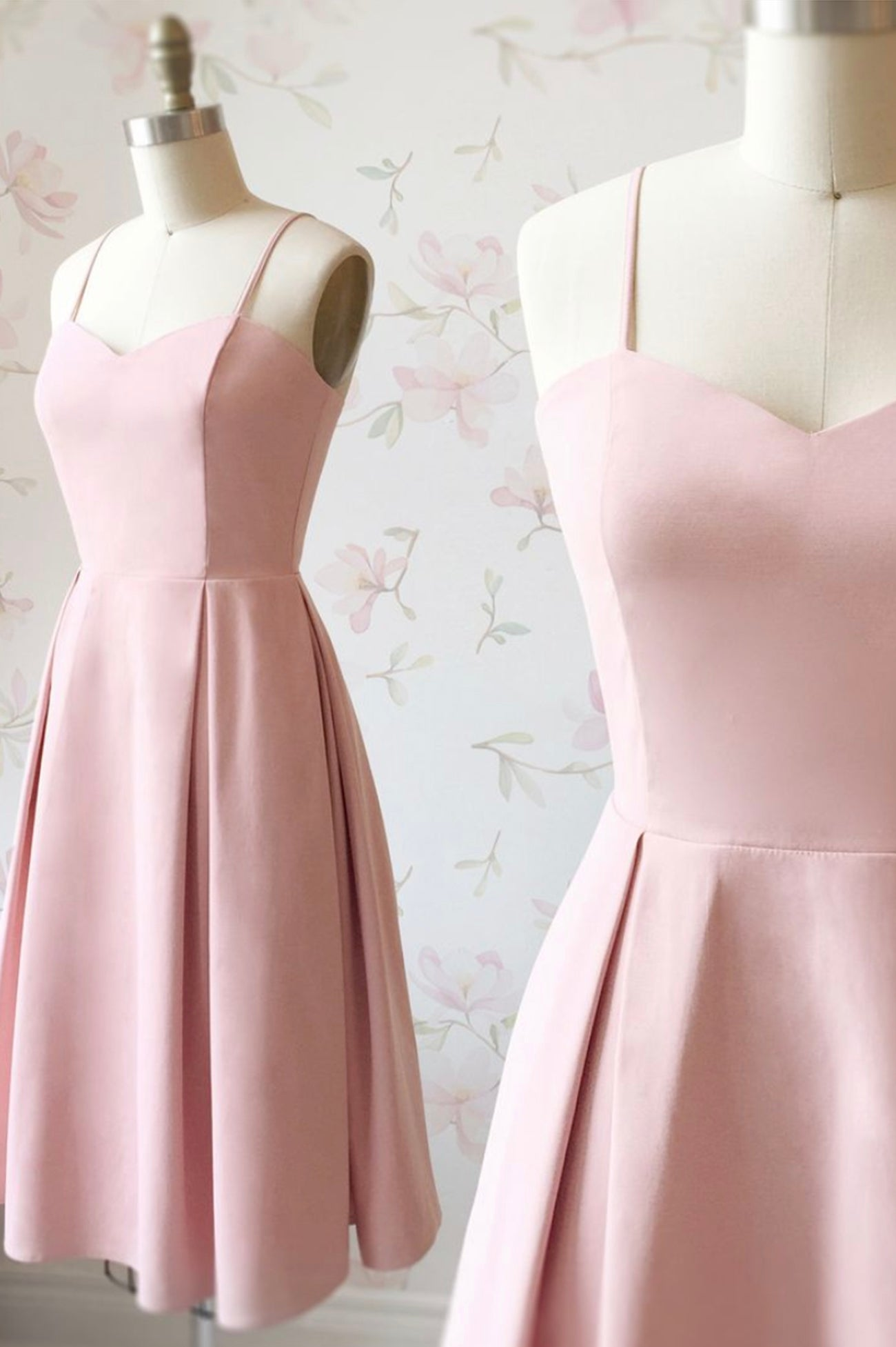 Pink satin short prom dress pink party dress