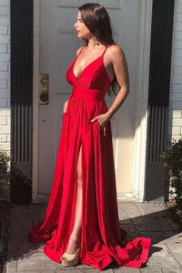 Red A line long prom dresses v neck evening dress