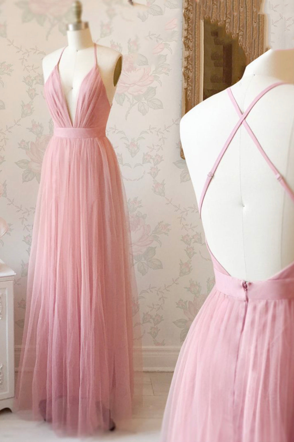 Simple v neck tulle long prom dress evening dress