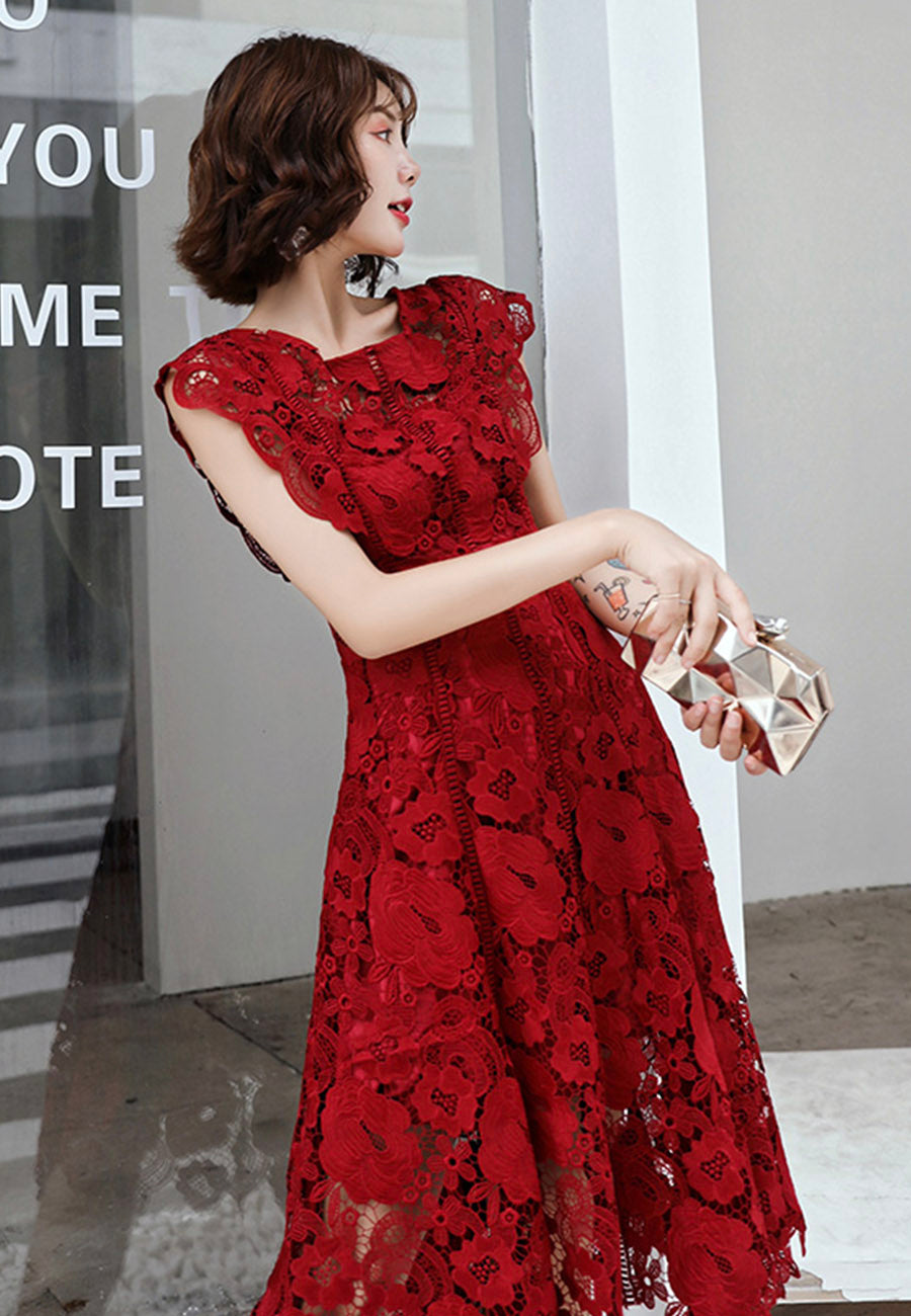 Cute lace flowers short prom dress homecoming dress