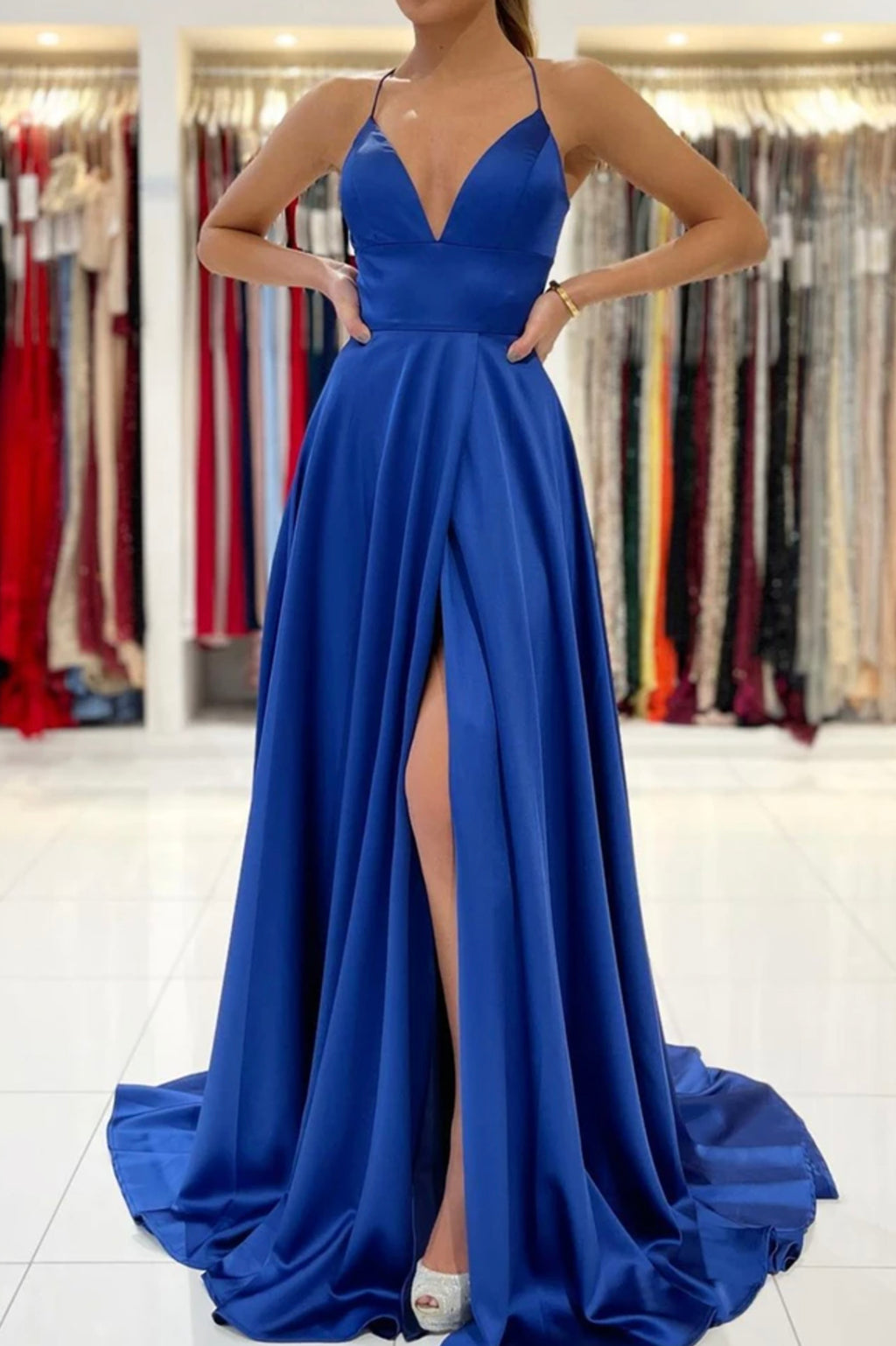 Blue v neck satin prom dress A line backless evening dress