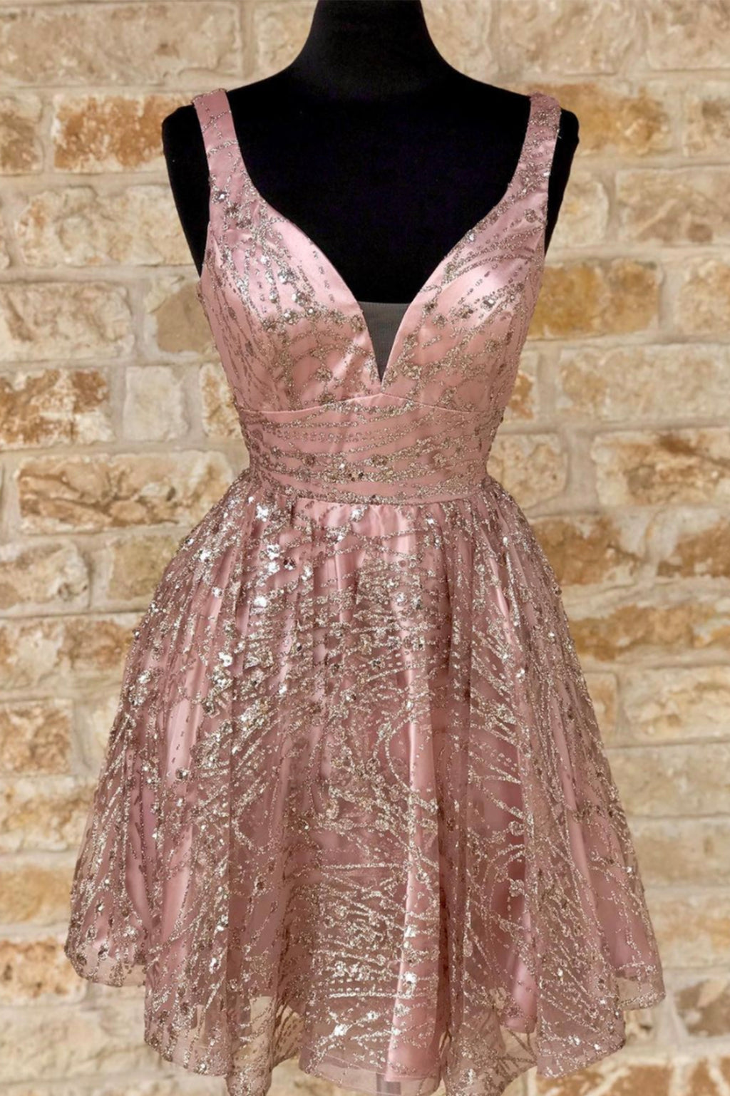 Pink tulle sequins short prom dress homecoming dress