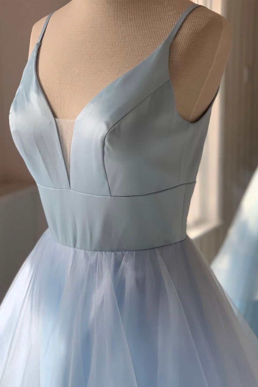 Blue v neck tulle long A line prom dress formal dress