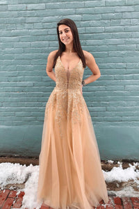 Stylish v neck lace long prom dress A line evening dress