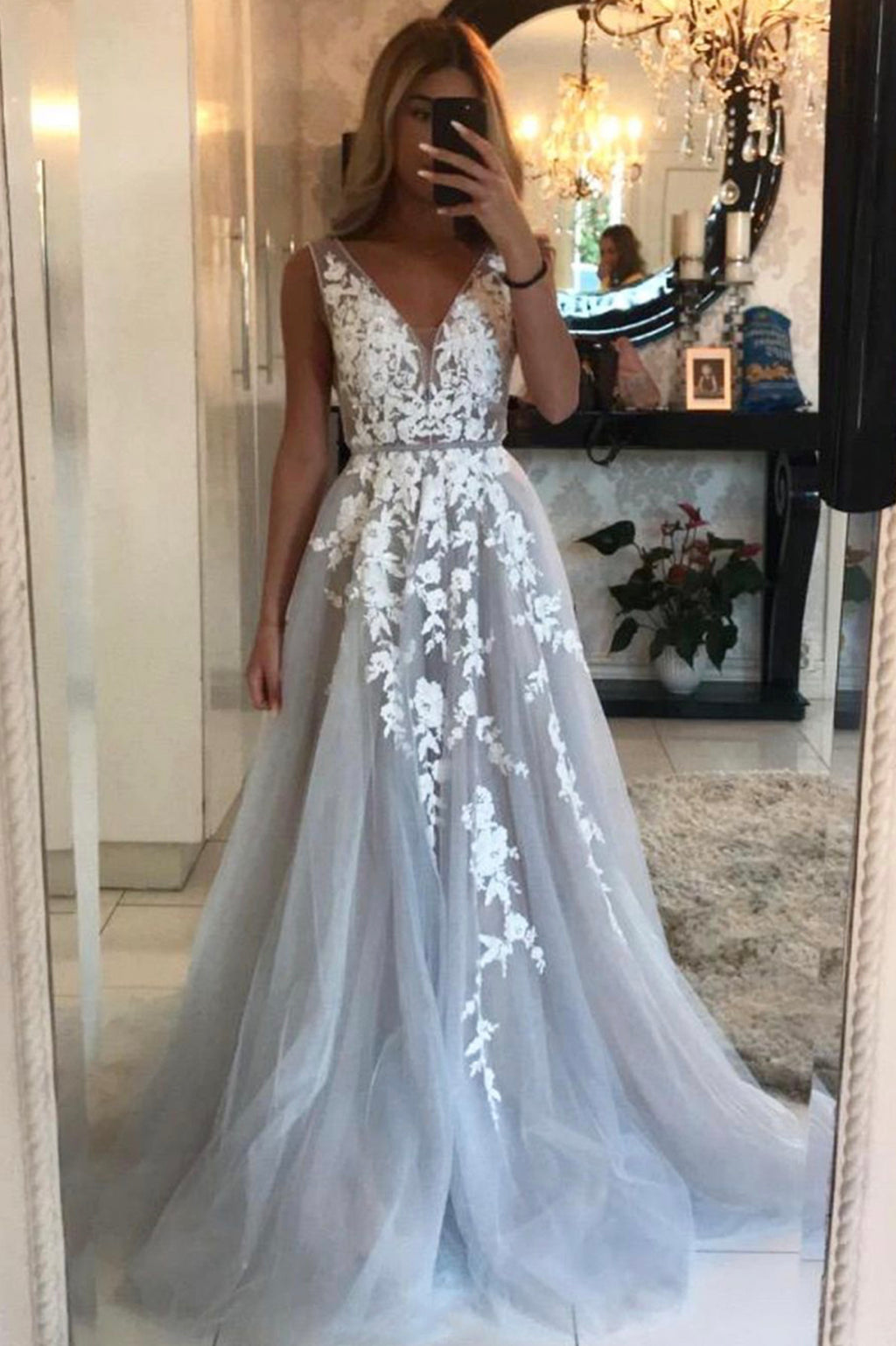 Grey v neck tulle lace long prom dress evening dress