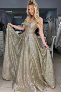 Gold sequins long prom dress A line evening dress