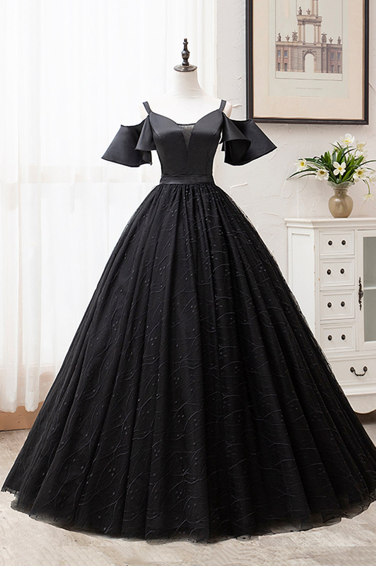 Black A line tulle long ball gown dress formal dress