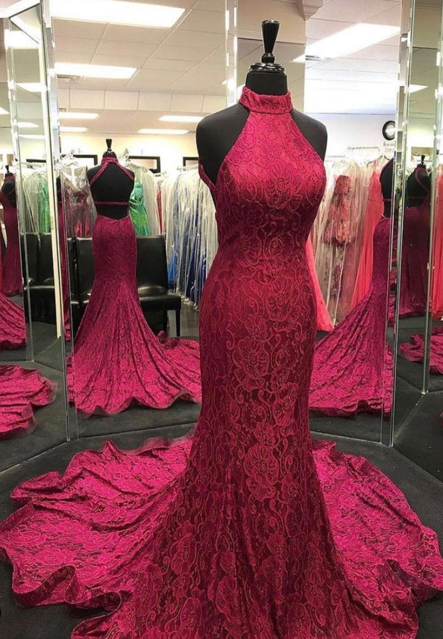 Burgundy lace long prom dress mermaid evening dress