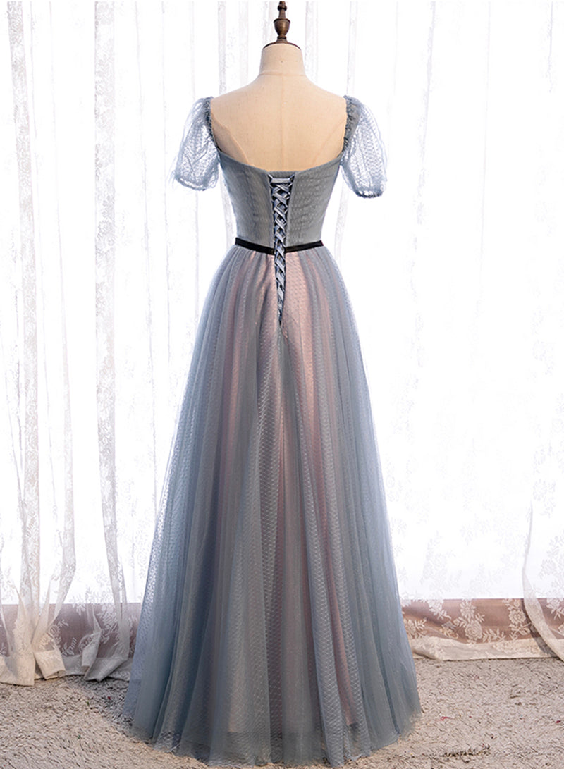 Gray tulle long A line prom dress gray evening dress