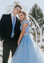 Blue tulle long prom dress two pieces evening dress