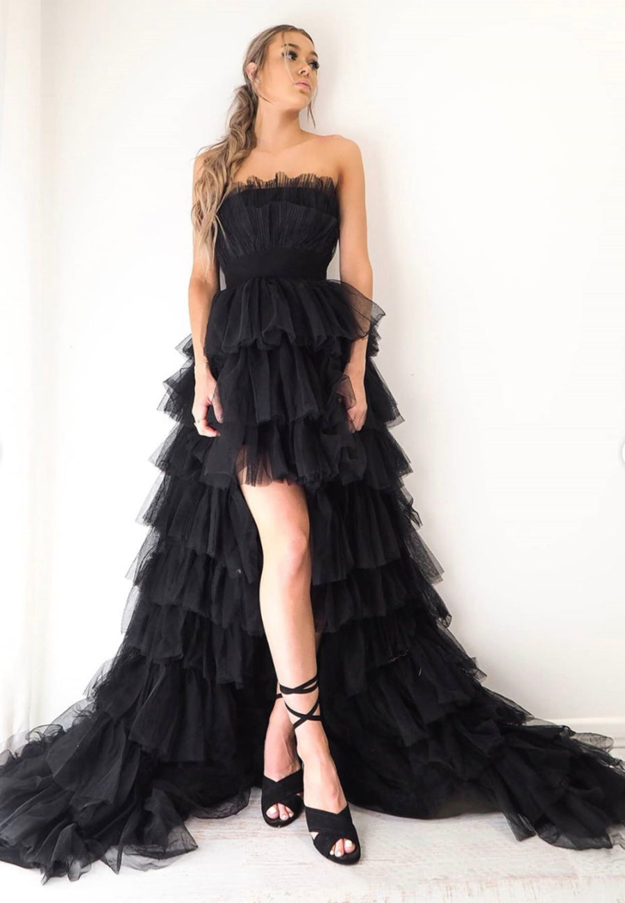 Black tulle high low prom dress evening dress