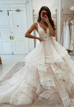 A line v neck tulle lace long prom dress formal dress