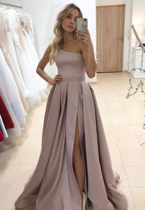 Stylish satin one shoulder prom dress evening dress