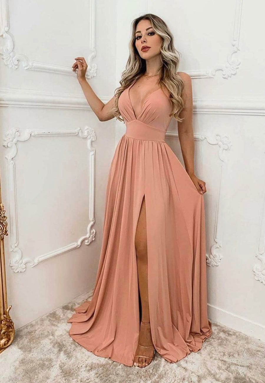 Simple v neck chiffon long prom dress evening dress