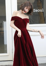 Burgundy velvet long prom dress evening dress