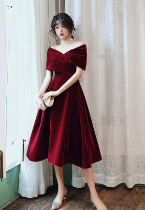 Burgundy velvet short prom dress homecoming dress