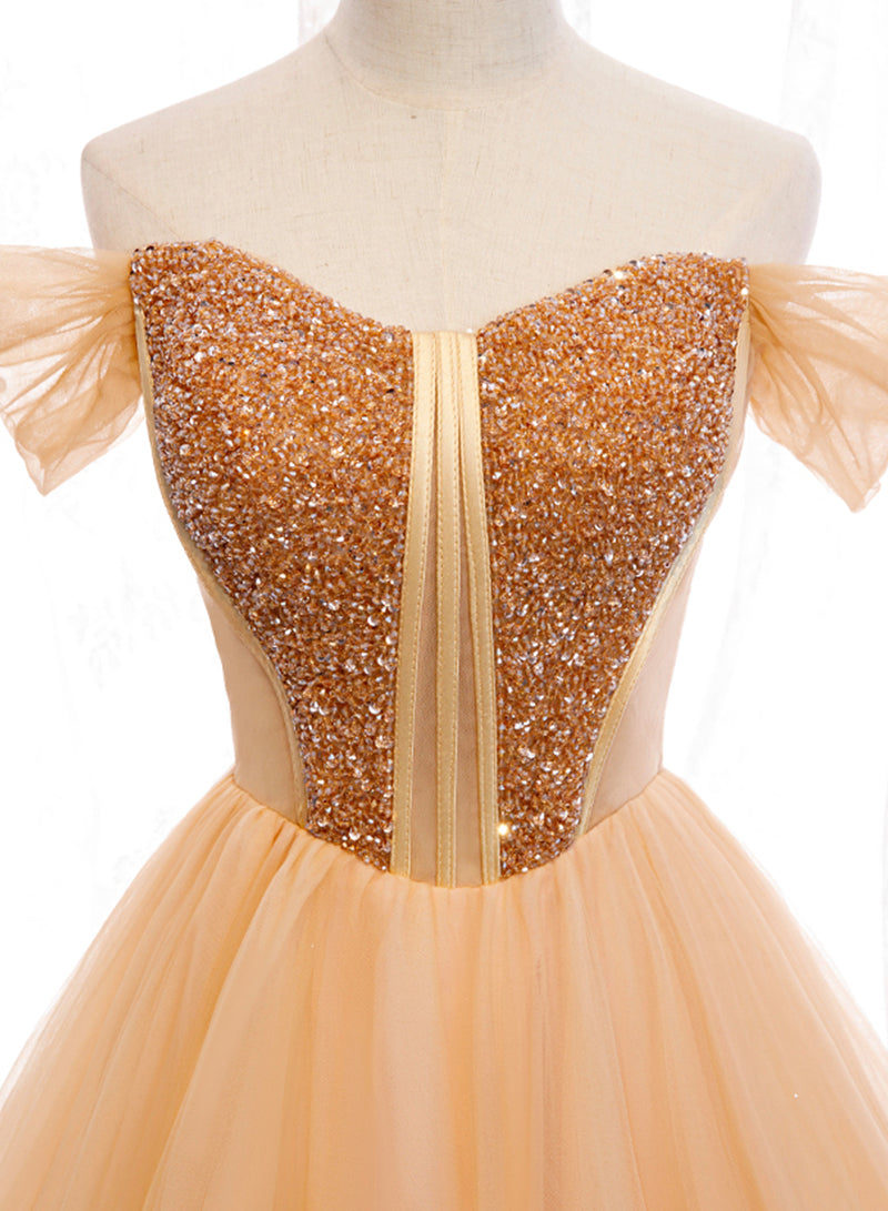 Romantic gold tulle ball gown dress evening dress