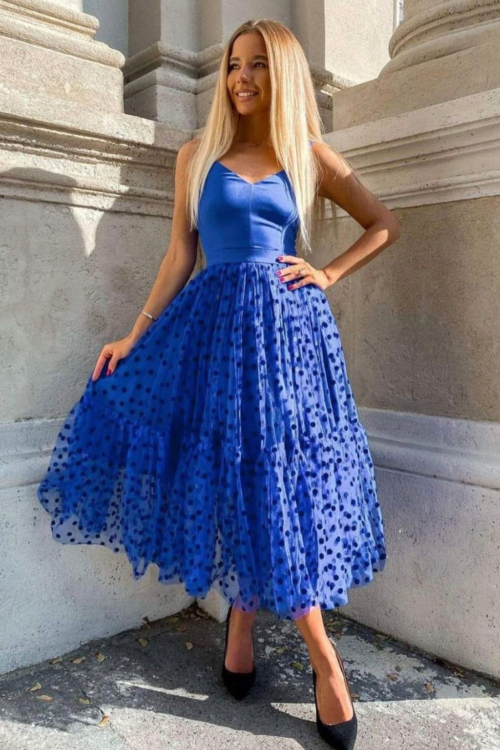 Blue v neck tulle short prom dress blue evening dress