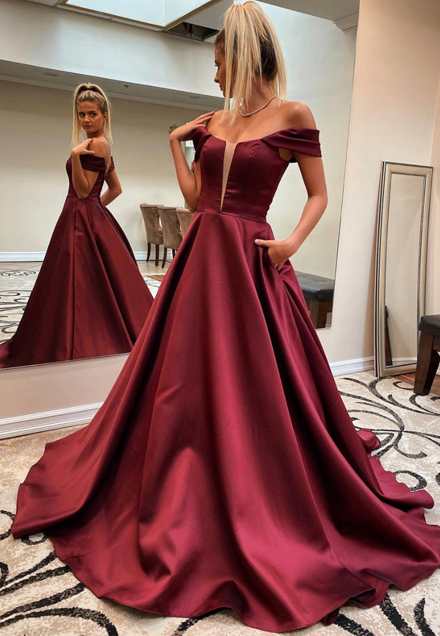 Burgundy satin long prom dress evening dress