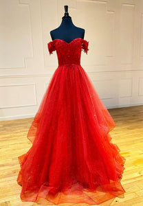 Red off shoulder long prom dress lace evening dress
