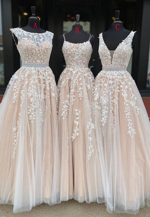 A line lace tulle long prom gown formal dress