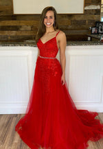 Red tulle lace long prom dress red evening dress