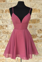 Cute v neck chiffon short prom dress homecoming dress