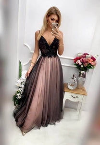 Black lace long prom dress black evening dress