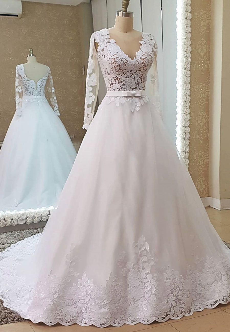 White tulle lace long prom dress evening dress