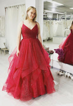 Burgundy v neck tulle long ball gown dress formal dress